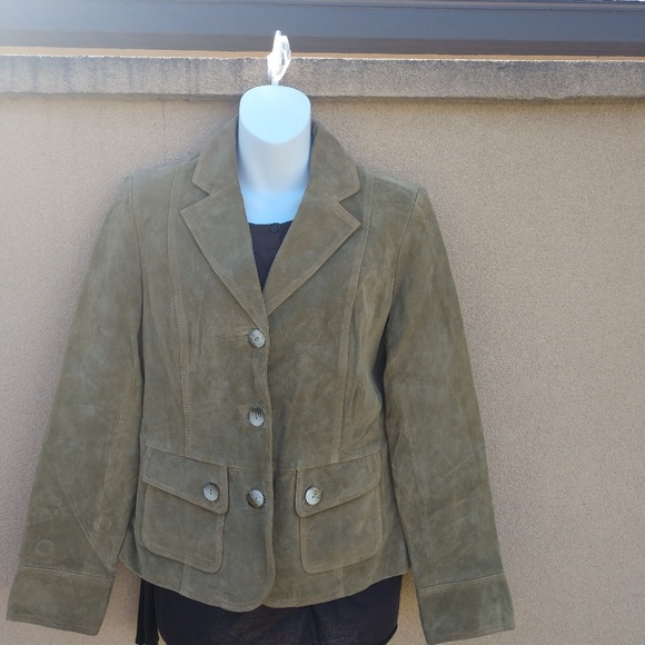 B Collection Jackets & Blazers - B Collection Moss Green Leather Jacket